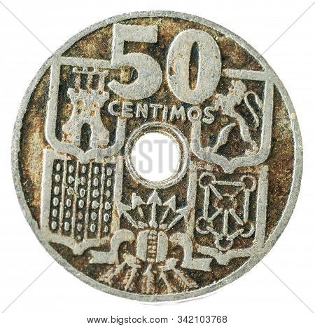 Old Spanish Coin Of 50 Centimos. Nickel. Francisco Franco. Year 1949, 19 51 In The Stars. Reverse.