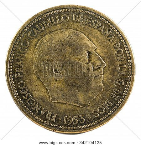 Old Spanish Coin Of 2,50 Pesetas, Francisco Franco. Year 1953, 19 54 In The Stars. Obverse.