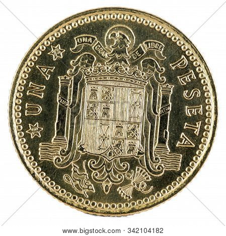 Old Spanish Coin Of 1 Peseta, Francisco Franco. Year 1966, 19 73 In The Stars. Reverse.