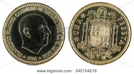 Old Spanish Coin Of 1 Peseta, Francisco Franco. Year 1966, 19 73 In The Stars.