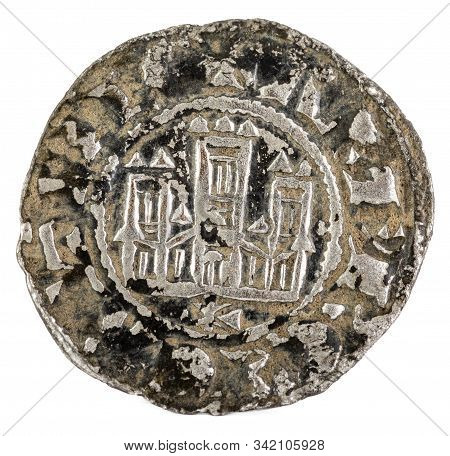 Ancient Medieval Fleece Coin Of The King Alfonso X. Pepion. Spain. Obverse.