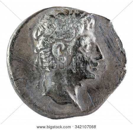 Octavian Augustus. Roman Republic Coin. Ancient Roman Silver Denarius Of The Family Julia. Coined In