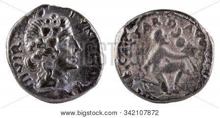 Octavian Augustus. Roman Republic Coin. Ancient Roman Silver Denarius Of The Family Petronia.