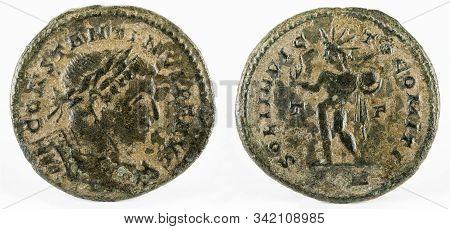 Ancient Roman Copper Coin Of Emperor Constantine I Magnus.