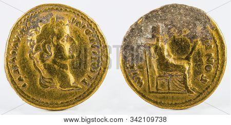 Ancient Roman Gold Aureus Coin Of Emperor Tiberius.