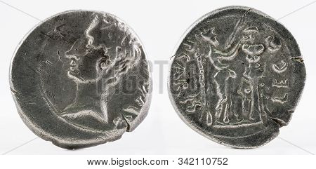 Ancient Roman Silver Quinarius Coin Of Emerita Augusta. Coined By Emperor Augustus.