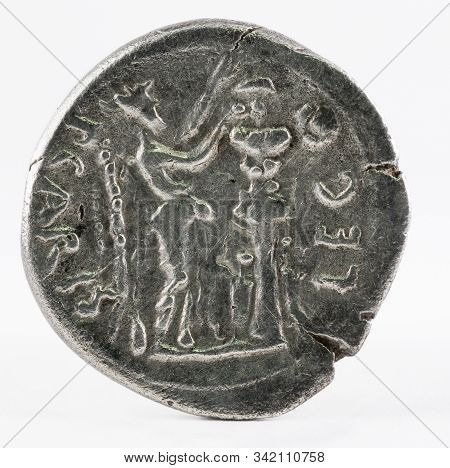 Ancient Roman Silver Quinarius Coin Of Emerita Augusta. Coined By Emperor Augustus. Reverse.