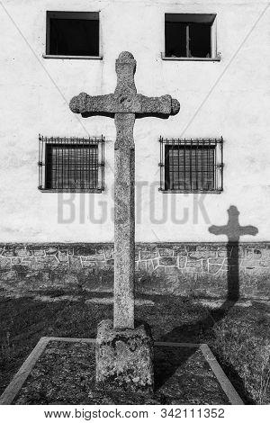 Ancient Stone Cross In San Felices De Los Gallegos. Spain.
