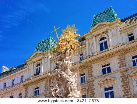 Plague Holy Trinity Column On Graben Street In Vienna