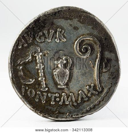 Roman Republic Coin. Ancient Roman Silver Denarius Of Julius Caesar. Reverse.