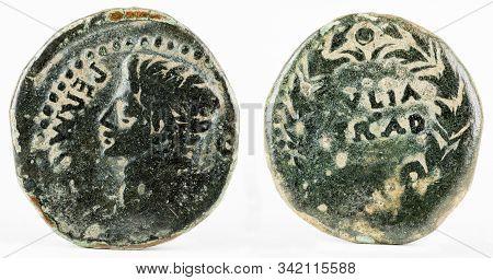 Ancient Roman Bronze Coin Of Augustus Ae25 From Hispania. Ivlia Trad. Iulia Traducta.