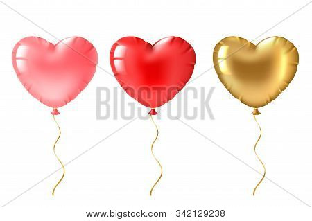 Heart Balloon. Cute Gold, Pink And Red Heart Shaped Balloons Decor, Valentines Day Design Element Fo