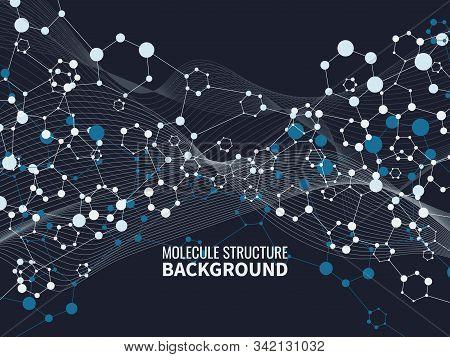Molecular Complex. Chemistry Abstract And Pharmacy Nanotechnology Scientific Vector Dark Polygonal B