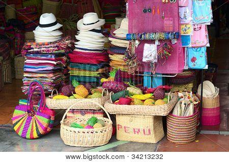 Handicratfs Sold on Inca Market in Lima, Peru