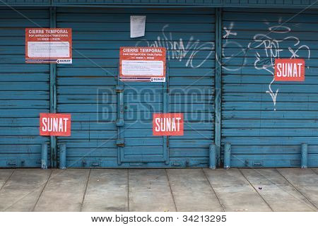 Shop Closed by Authorities in LIma, Peru