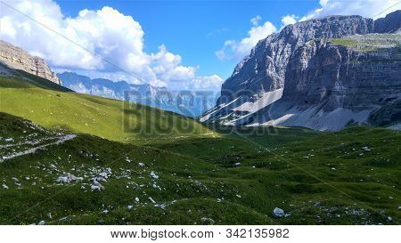 Gigantic Mountain View In Brenta Dolomites. Enormous Rock Formation On A Nice Sunny Summer Day While