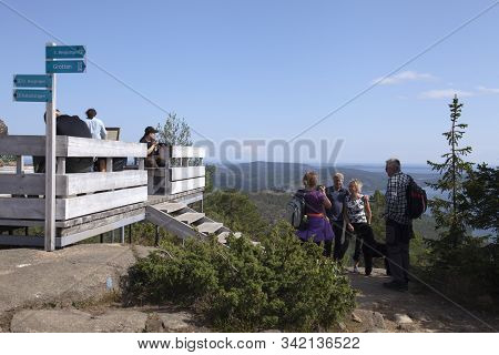 High Coast Heritage, Sweden On August 09. View Of The Top Balcony And Unidentified Visitors On Augus