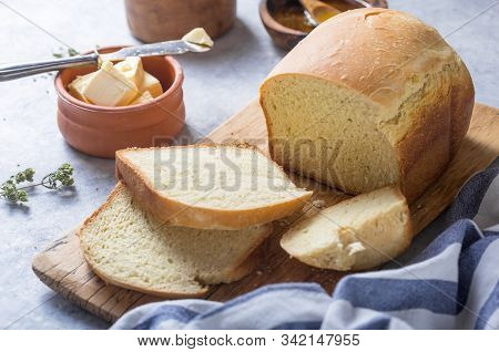 Fresh Homemade Crisp Bread, Top View. French Bread. Bread At Leaven. Unleavened Bread. Fresh Homemad
