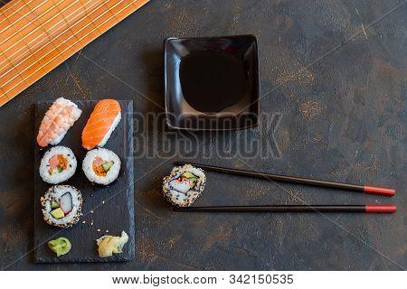 Oriental Japanese Food Based On Sushi, Maki, Nigiri, Unagi, Wasa