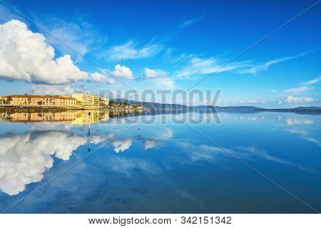 Orbetello Small Town, Lakefront And Lagoon Panorama, Argentario, Italy Europe