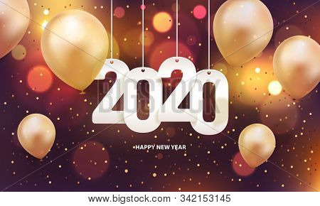 Happy New Year 2020, 2020 Text For Calendar, Colorful Text On Background, 2020 Beginning Concept, Ye