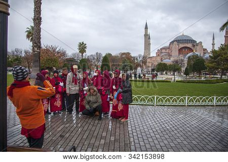 Istanbul, Turkey - December 04, 2019: The Sultanahmet Mosque. Main Domes Are Visible In The Frame. I