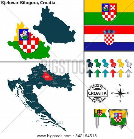Vector Map Of Bjelovar Bilogora And Location On Croatian Map