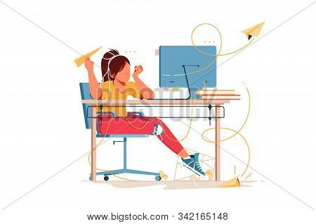 Woman Having Boring Weekdays And Throw Paper Airplanes Vector Illustration. Office With Computer And