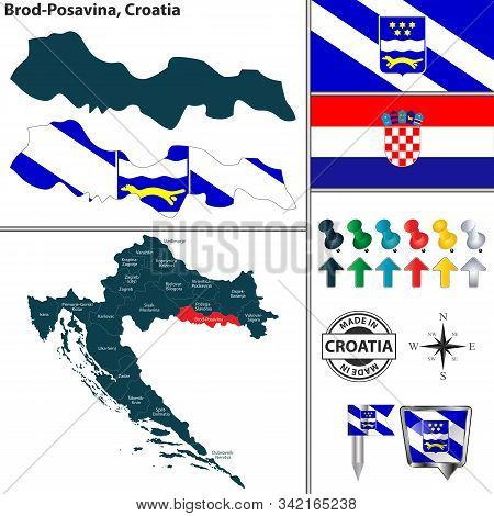 Vector Map Of Brod Posavina And Location On Croatian Map