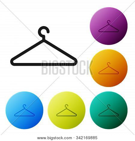 Black Hanger Wardrobe Icon Isolated On White Background. Cloakroom Icon. Clothes Service Symbol. Lau