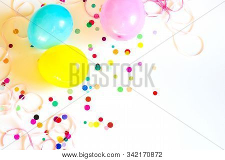 Festive Party Or Carnival Confetti With Baloons On White Background
