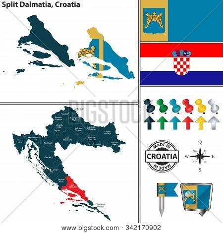 Vector Map Of Split Dalmatia And Location On Croatian Map