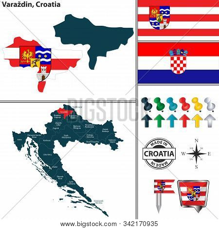 Vector Map Of Varazdin And Location On Croatian Map