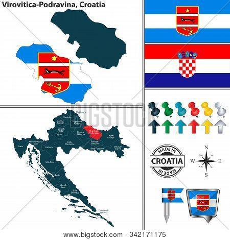 Vector Map Of Virovitica Podravina And Location On Croatian Map