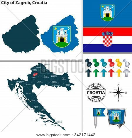 Vector Map Of Zagreb City And Location On Croatian Map