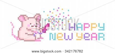 Happy New Year, Pixel Art Lettering Greeting Card With Cute Mouse Character Exploding Party Popper W