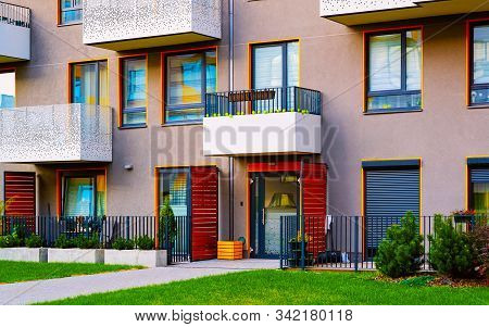 Apartment Residential Modern House Building Exterior With Entrance Gate Concept Reflex