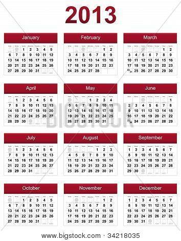 Red 2013 Calendar