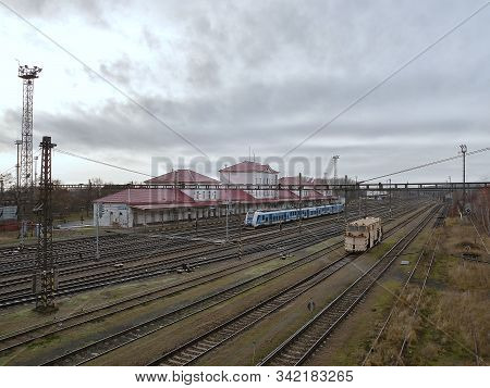 Chomutov, Czech Republic - December 16, 2019: Train Station With Historical Locomotive During Christ