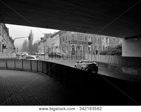 Chomutov, Czech Republic - December 17, 2019: Car Under Bridge In Centre Of City