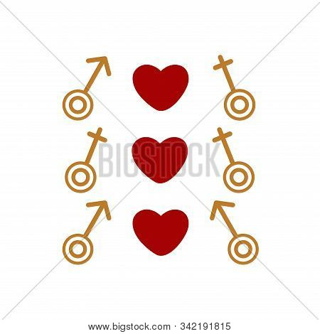 Set Of Gender Signs Different Orientation Love. Valentines Day. Feast Of Love, February 14th. On Whi