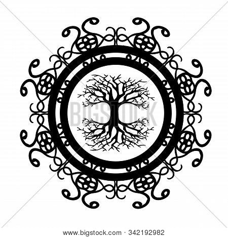 Scandinavian Tree Of Life Silhouette In Ornamented Circle
