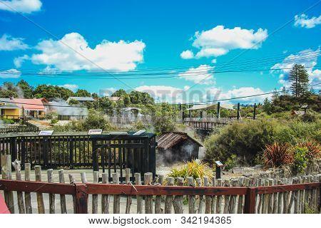 Rotorua, North Island, New Zealand - October 29th 2016: View Of The Famous Whakarewarewa Thermal Vil