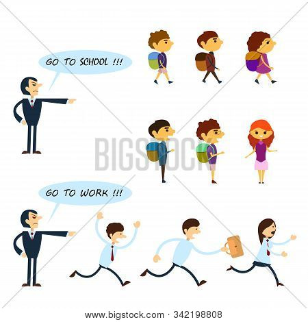 Set Of Business Characters And Pupils Isolated On The White Background. Angry Boss Is Yelling At Wor