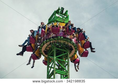 Canela, Brazil - July 21, 2019. People Having Fun On A Riding In The Alpen Turbo Drop At The Alpen A