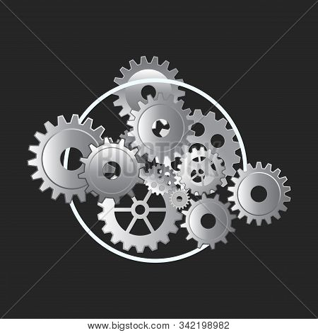 Technology Background With Metal Gears And Cogwheels On The Dark Background. Flat Style. Vector Illu