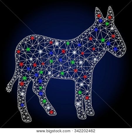 Glowing White Mesh Donkey With Glitter Effect. Abstract Illuminated Model Of Donkey. Shiny Wire Carc