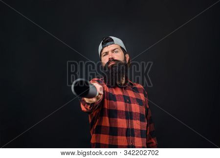 Sport, Training, Health. Bearded Man Pointing At You With Baseball Bat. Sport Equipment. Power And E