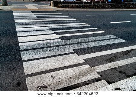 Crosswalk In The Form Of Piano Keys. Abstract Musical Background. Piano Shaped Lines. An Interesting