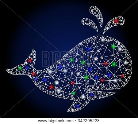 Glossy White Mesh Whale With Glow Effect. Abstract Illuminated Model Of Whale. Shiny Wire Frame Tria